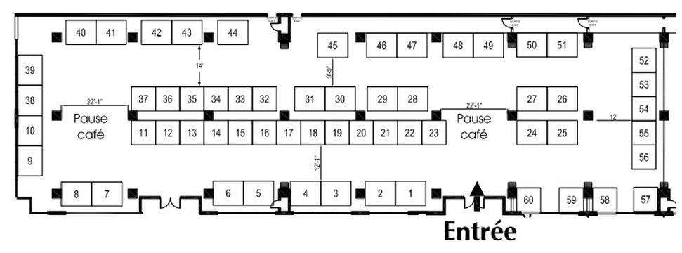 Plan salon des exposants (disposition des kiosques sujet à changement)